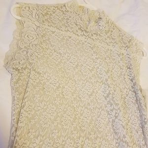 Forever 21 Cream Ivory Sheer Lace Top